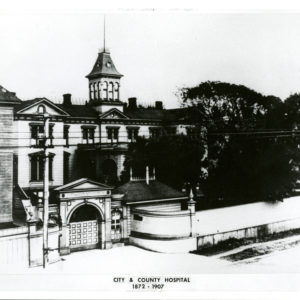 combination photo and drawing of first hospital from 1872